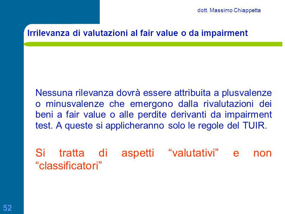 Irrilevanza di valutazioni al fair value o da impairment