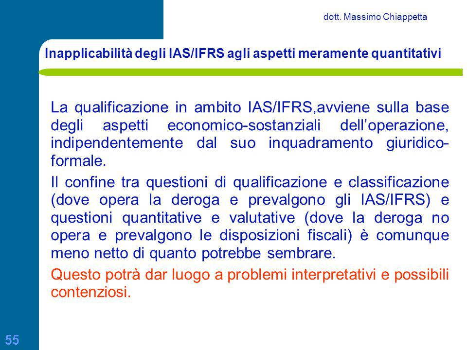 Inapplicabilità degli IAS/IFRS agli aspetti meramente quantitativi