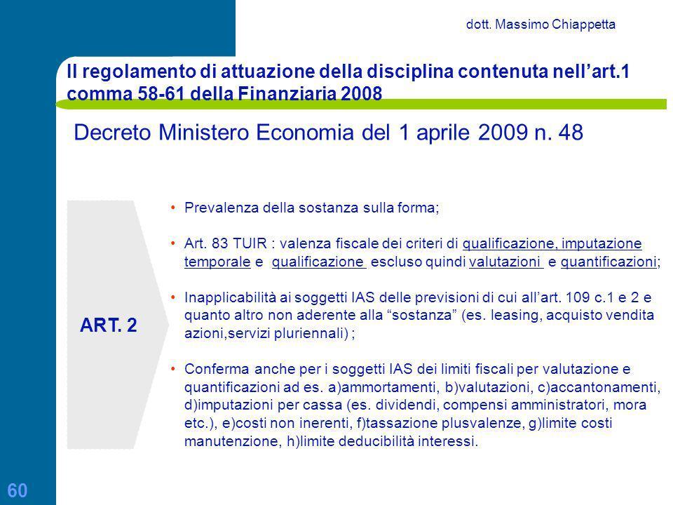Decreto Ministero Economia del 1 aprile 2009 n. 48
