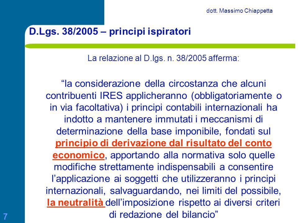 D.Lgs. 38/2005 – principi ispiratori