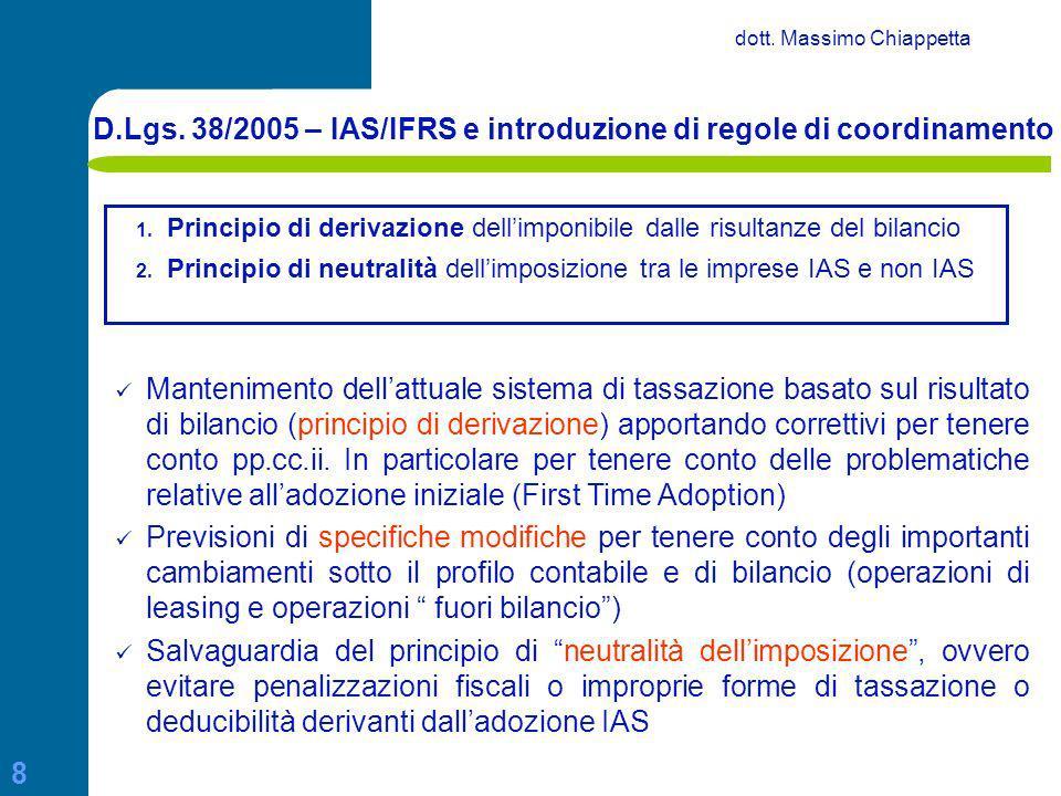 D.Lgs. 38/2005 – IAS/IFRS e introduzione di regole di coordinamento