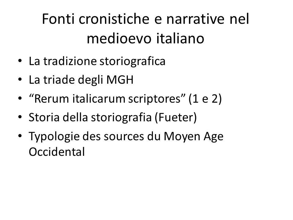 Fonti cronistiche e narrative nel medioevo italiano