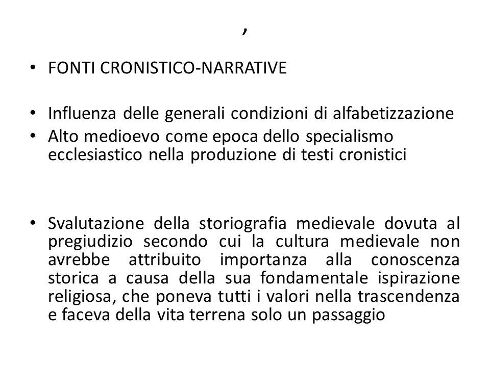 , FONTI CRONISTICO-NARRATIVE