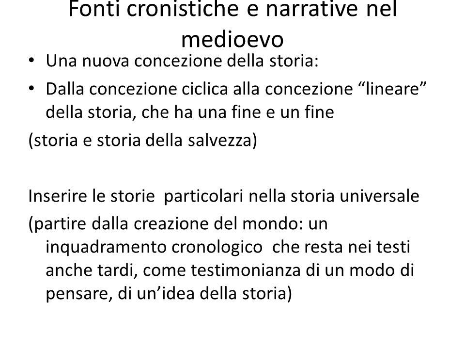Fonti cronistiche e narrative nel medioevo