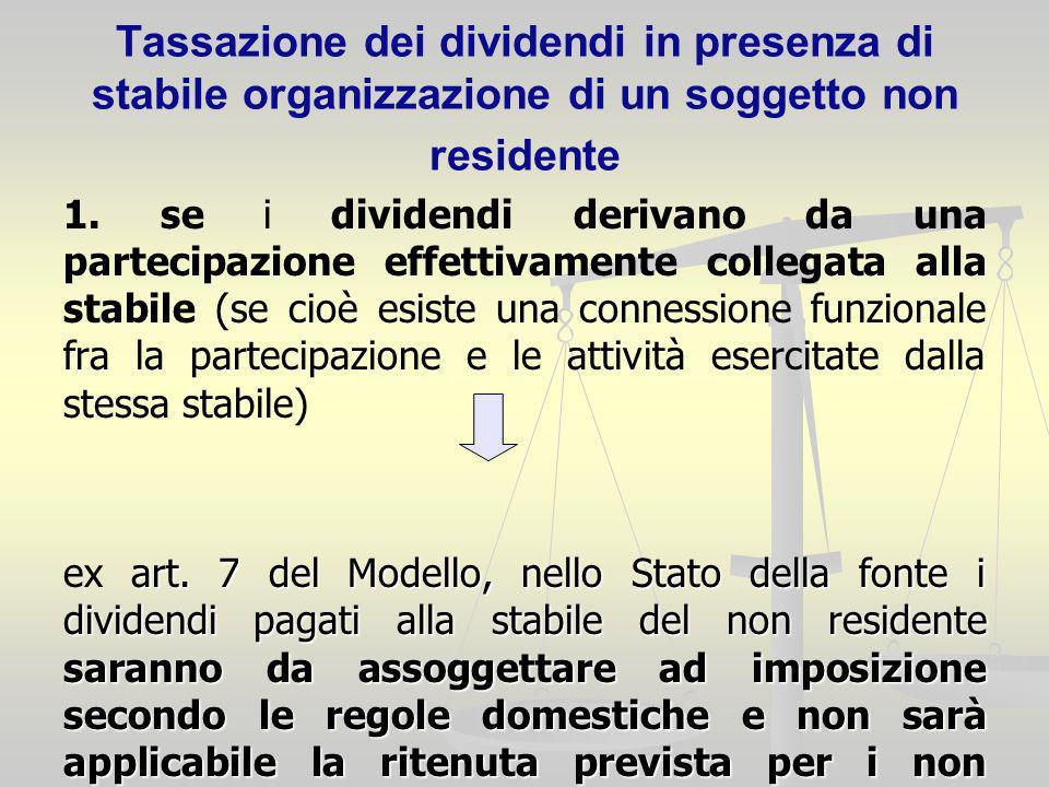 Tassazione dei dividendi in presenza di stabile organizzazione di un soggetto non residente