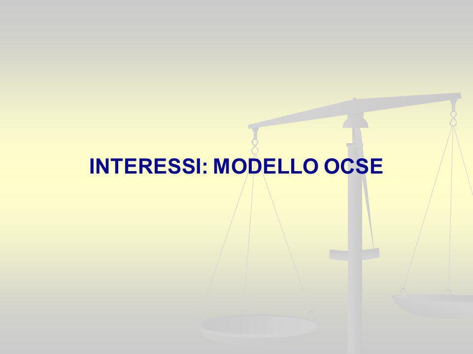 INTERESSI: MODELLO OCSE