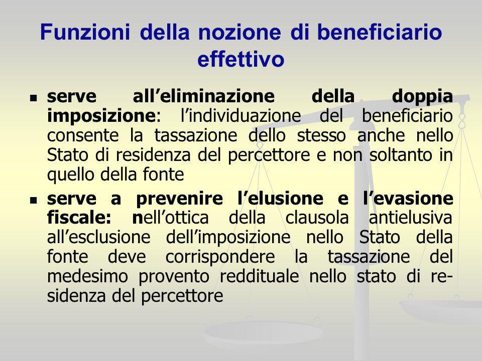 Funzioni della nozione di beneficiario effettivo