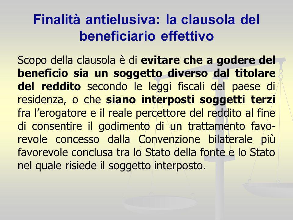 Finalità antielusiva: la clausola del beneficiario effettivo