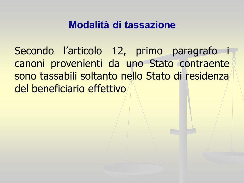 Modalità di tassazione