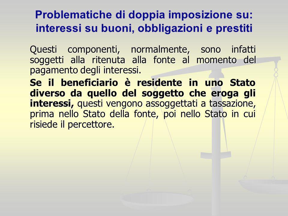 Problematiche di doppia imposizione su: interessi su buoni, obbligazioni e prestiti