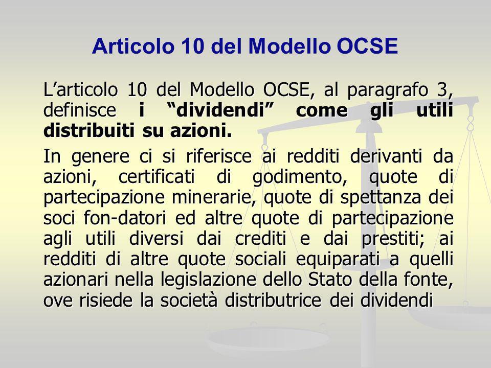 Articolo 10 del Modello OCSE