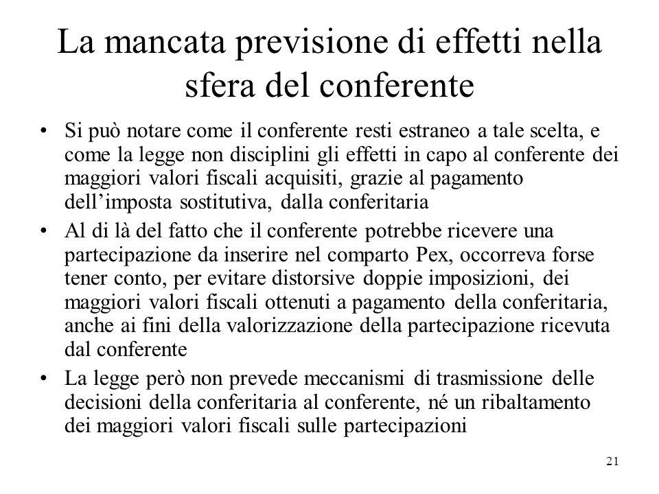 La mancata previsione di effetti nella sfera del conferente