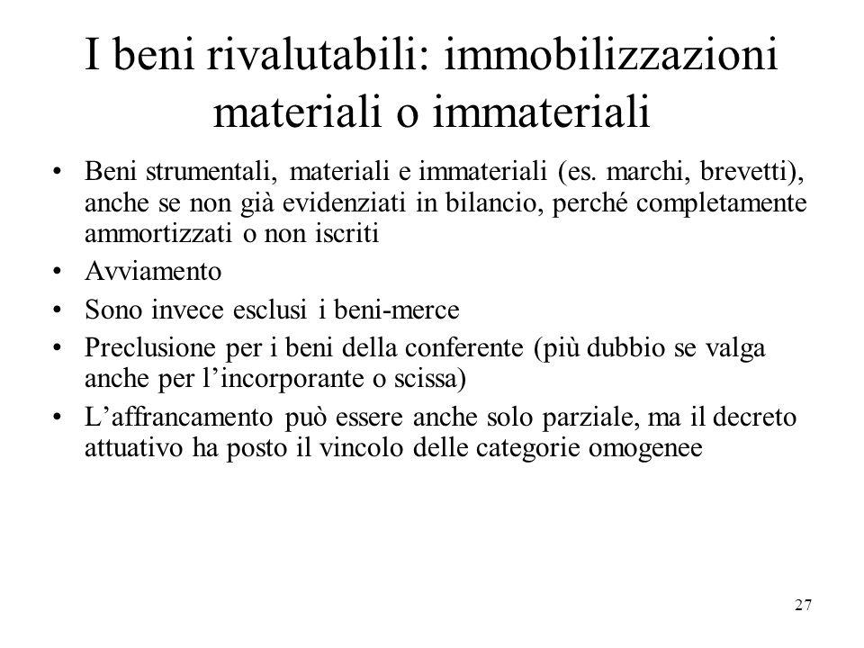 I beni rivalutabili: immobilizzazioni materiali o immateriali