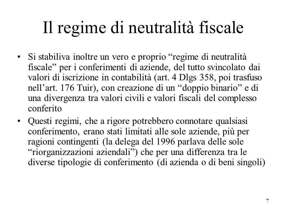 Il regime di neutralità fiscale
