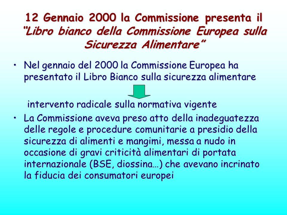 12 Gennaio 2000 la Commissione presenta il Libro bianco della Commissione Europea sulla Sicurezza Alimentare