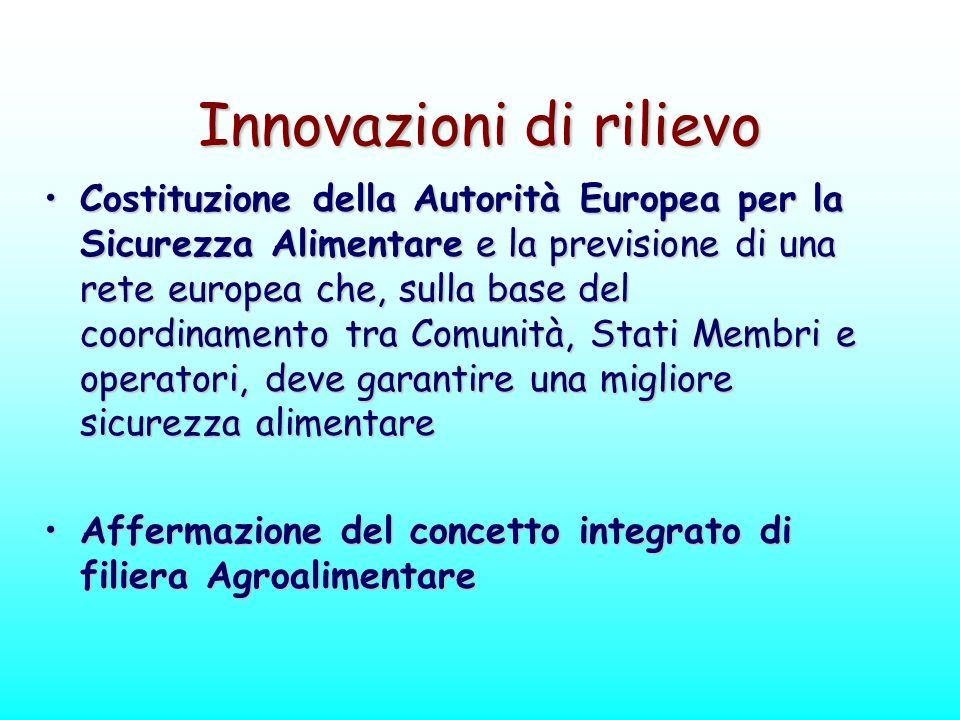 Innovazioni di rilievo