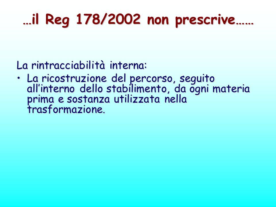 …il Reg 178/2002 non prescrive……