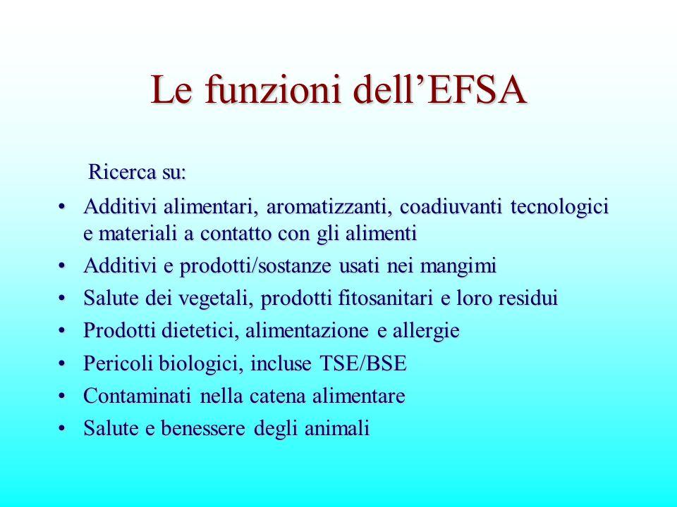 Le funzioni dell'EFSA Ricerca su: