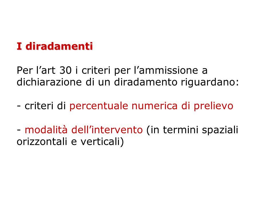 I diradamenti Per l'art 30 i criteri per l'ammissione a dichiarazione di un diradamento riguardano: - criteri di percentuale numerica di prelievo - modalità dell'intervento (in termini spaziali orizzontali e verticali)