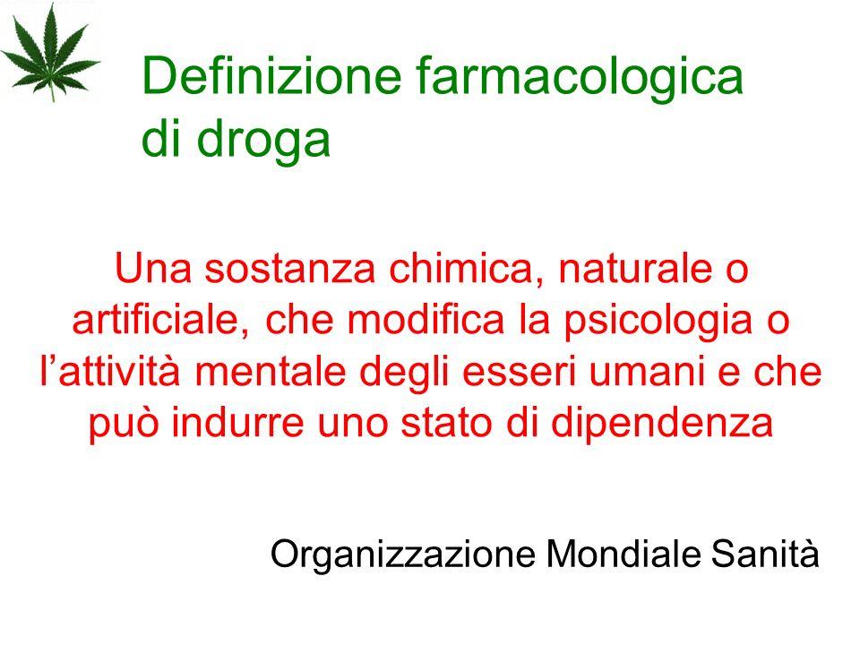 Definizione farmacologica di droga