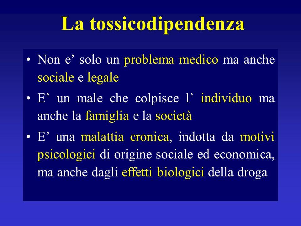 La tossicodipendenzaNon e' solo un problema medico ma anche sociale e legale. E' un male che colpisce l' individuo ma anche la famiglia e la società.