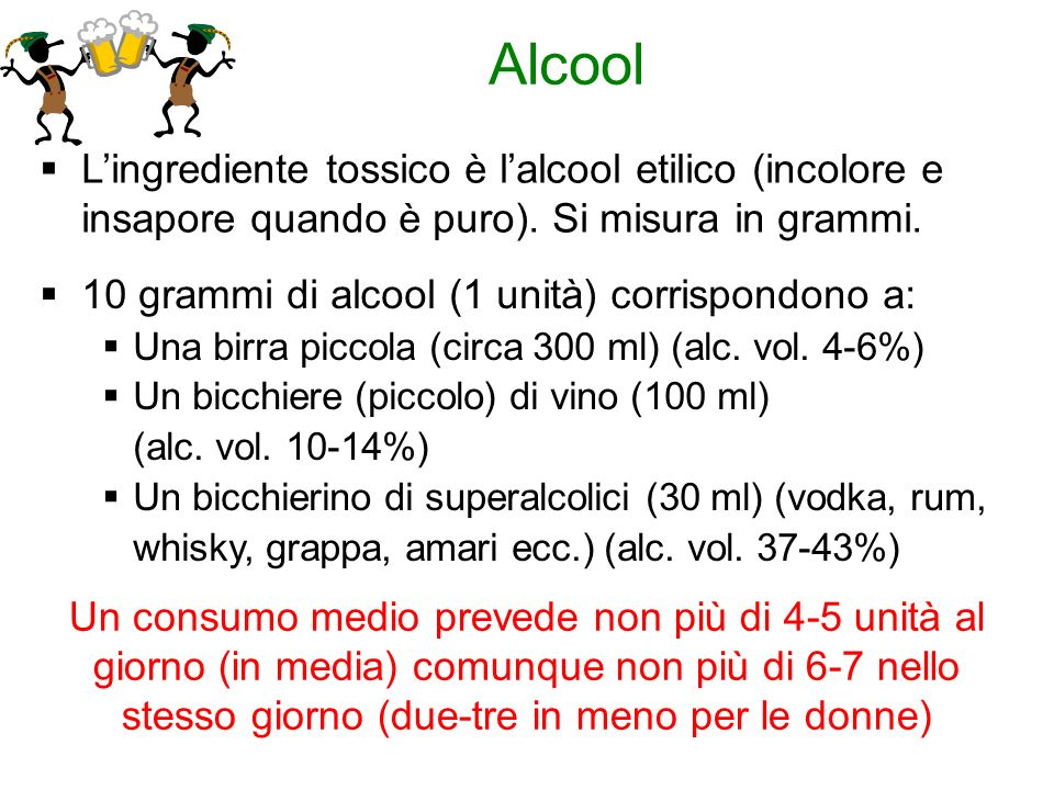 AlcoolL'ingrediente tossico è l'alcool etilico (incolore e insapore quando è puro). Si misura in grammi.