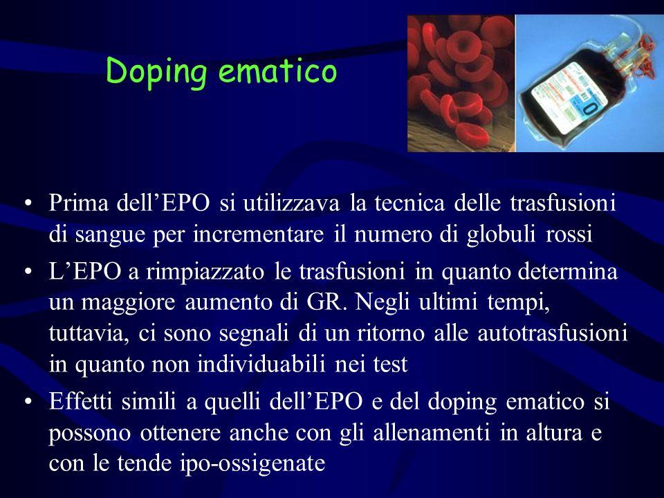 Doping ematico Prima dell'EPO si utilizzava la tecnica delle trasfusioni di sangue per incrementare il numero di globuli rossi.