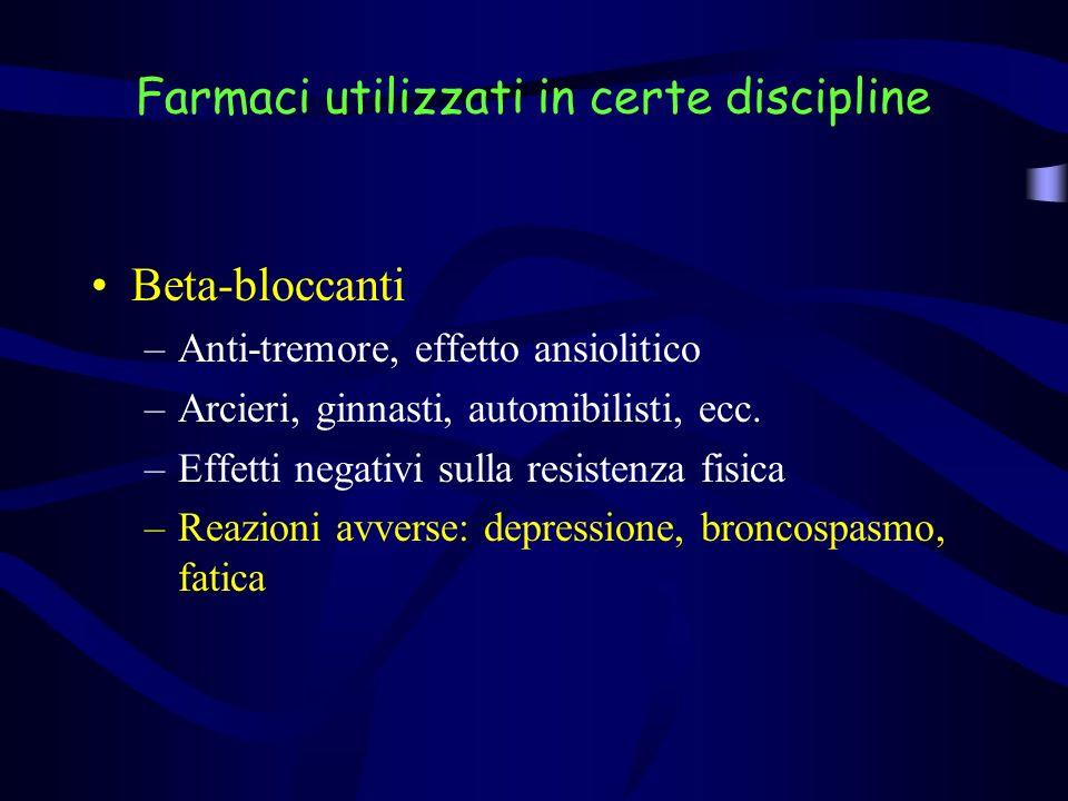 Farmaci utilizzati in certe discipline