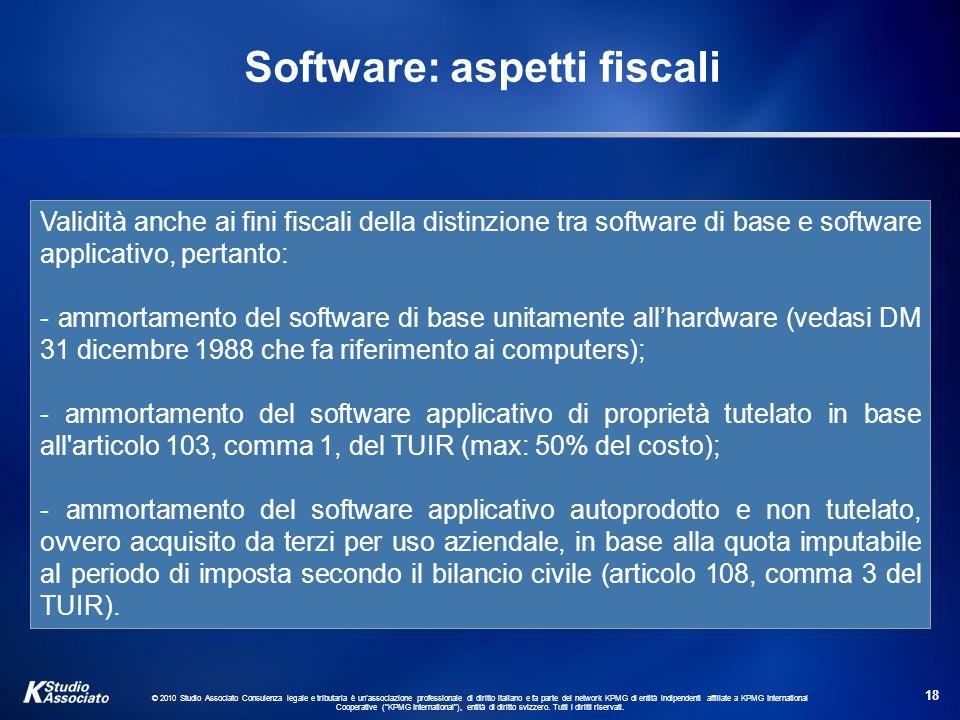 Software: aspetti fiscali