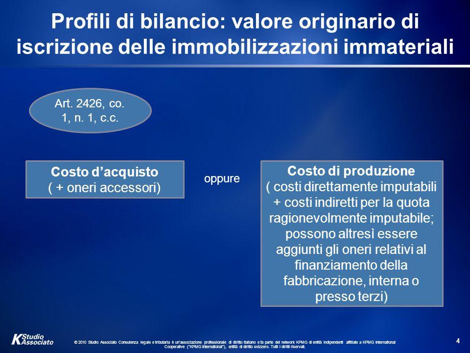 Profili di bilancio: valore originario di iscrizione delle immobilizzazioni immateriali