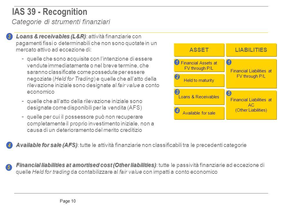 IAS 39 - Recognition Categorie di strumenti finanziari 3 3
