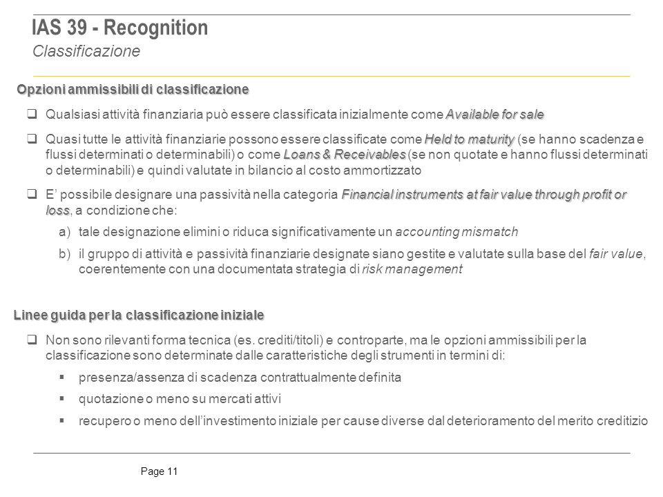 IAS 39 - Recognition Classificazione
