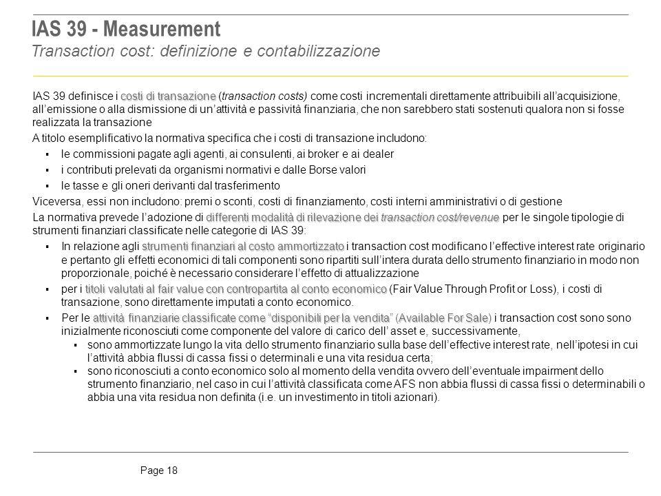 IAS 39 - Measurement Transaction cost: definizione e contabilizzazione