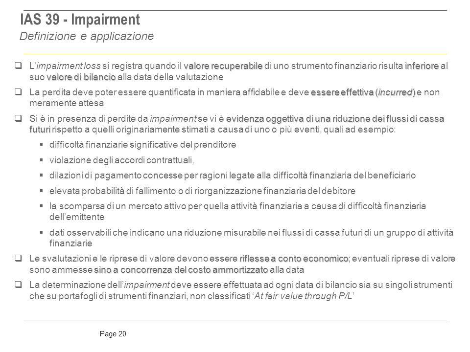 IAS 39 - Impairment Definizione e applicazione