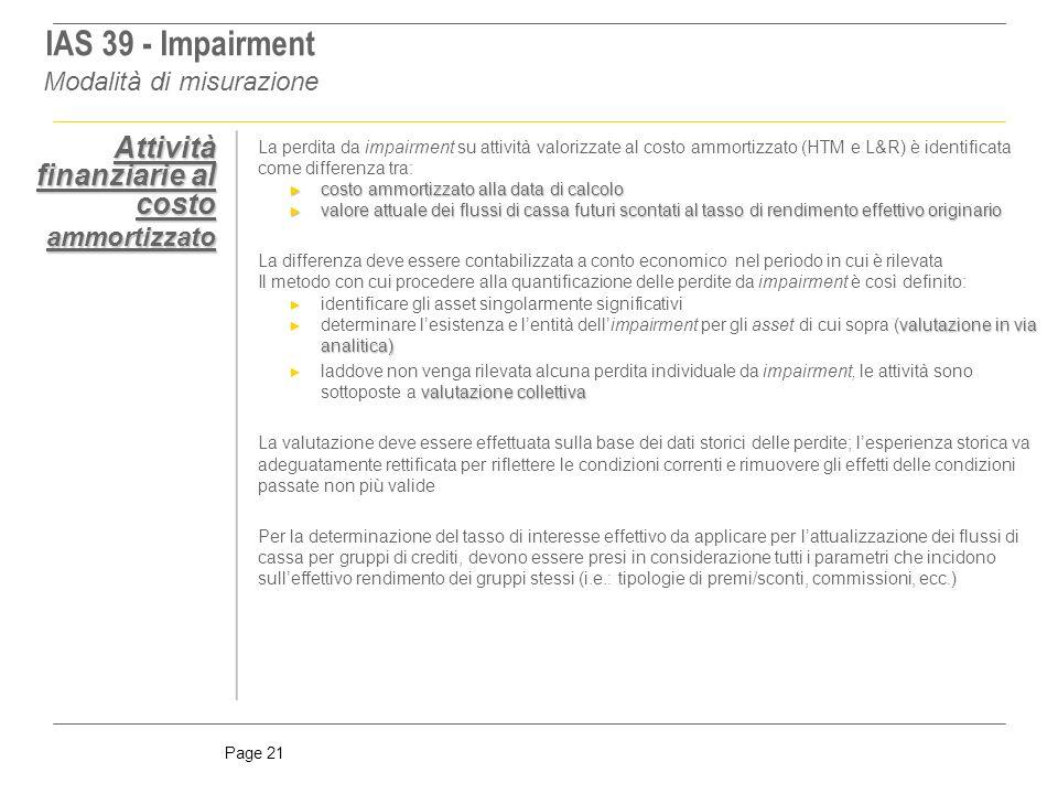 IAS 39 - Impairment Attività finanziarie al costo ammortizzato