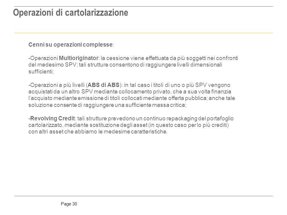 Operazioni di cartolarizzazione