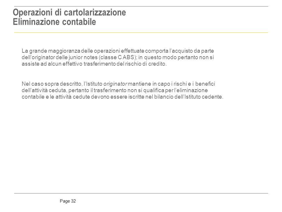 Operazioni di cartolarizzazione Eliminazione contabile