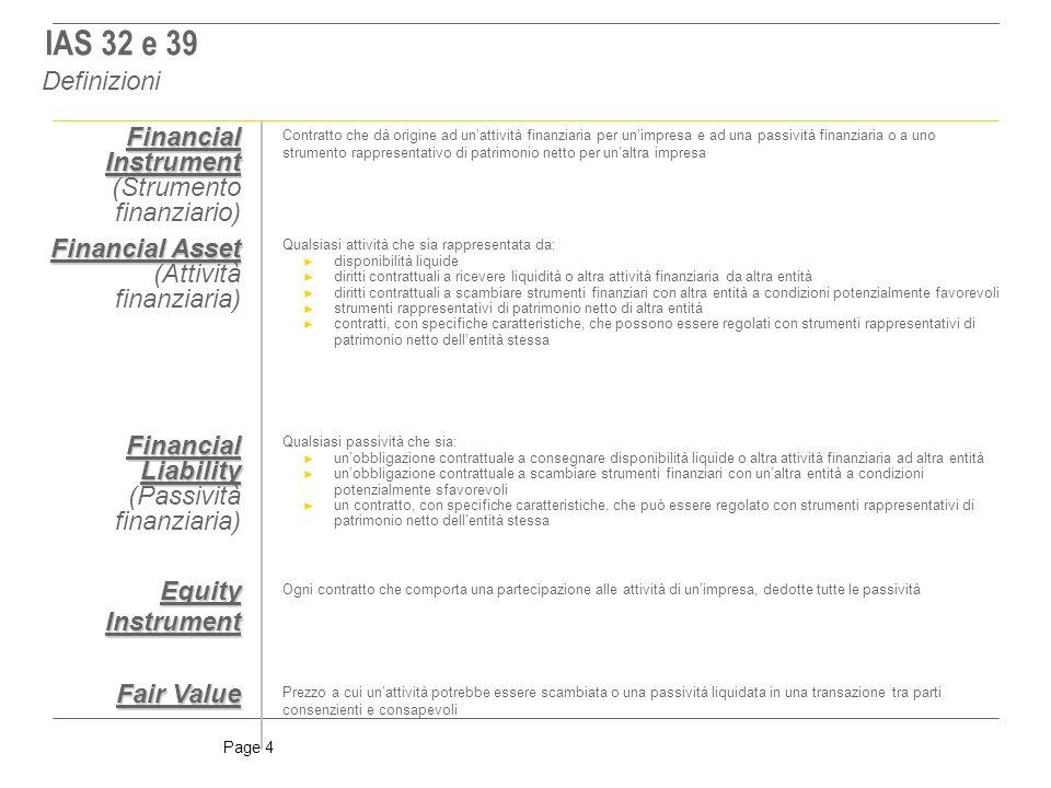 IAS 32 e 39 Definizioni Financial Instrument (Strumento finanziario)
