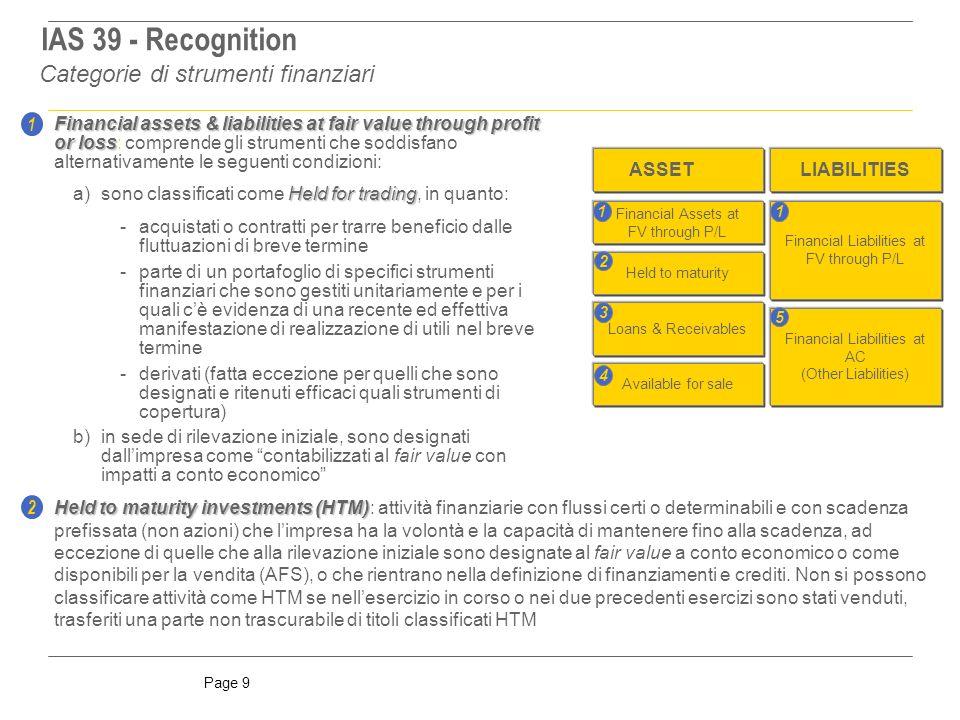 IAS 39 - Recognition Categorie di strumenti finanziari 1