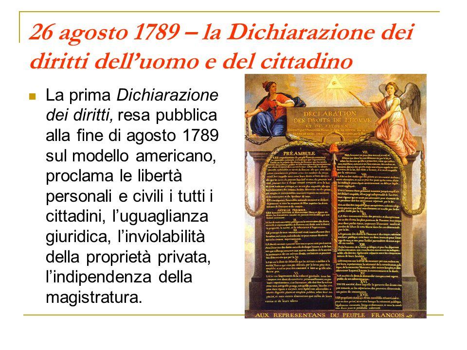 26 agosto 1789 – la Dichiarazione dei diritti dell'uomo e del cittadino