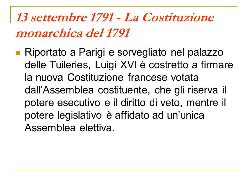 13 settembre 1791 - La Costituzione monarchica del 1791