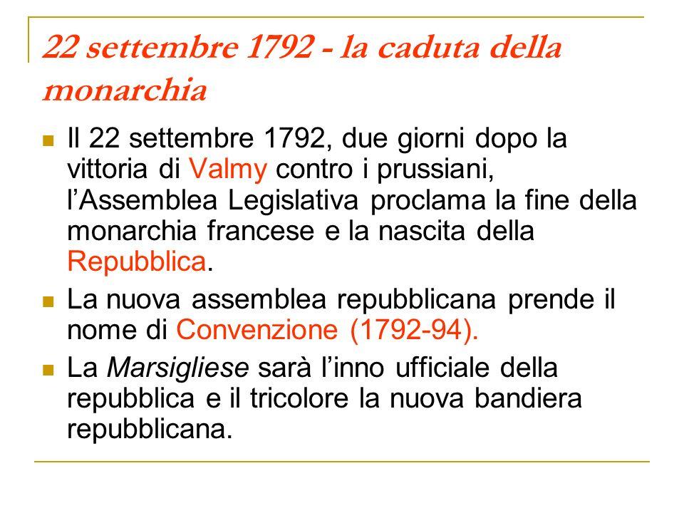 22 settembre 1792 - la caduta della monarchia
