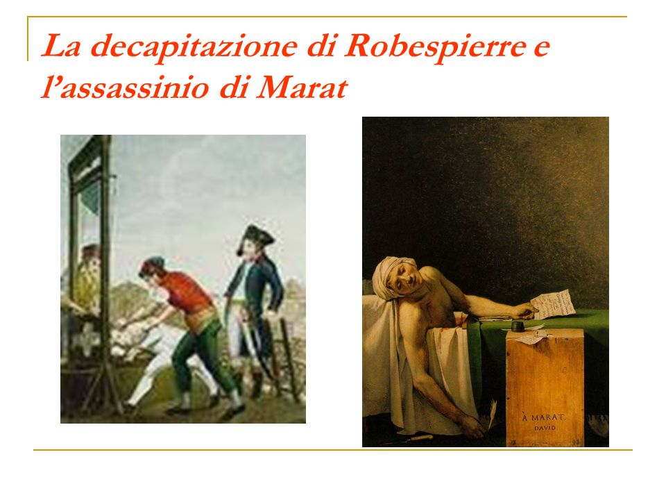 La decapitazione di Robespierre e l'assassinio di Marat