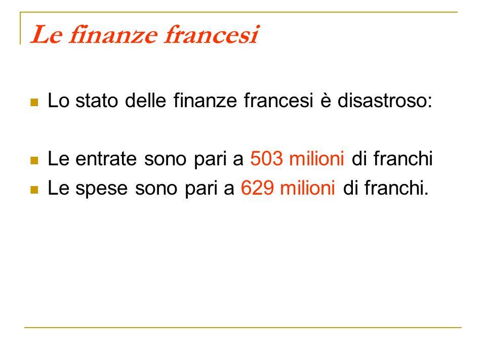 Le finanze francesi Lo stato delle finanze francesi è disastroso: