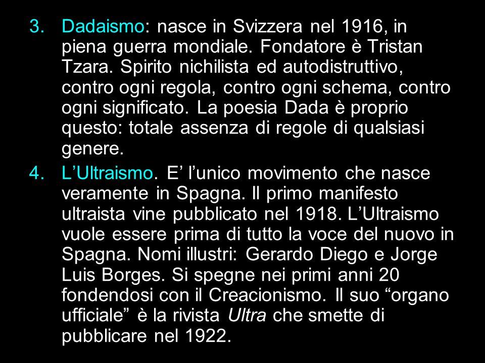 Dadaismo: nasce in Svizzera nel 1916, in piena guerra mondiale