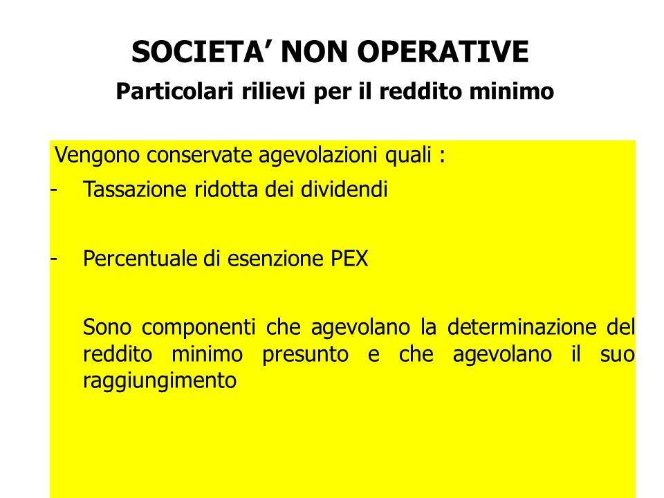 SOCIETA' NON OPERATIVE Particolari rilievi per il reddito minimo