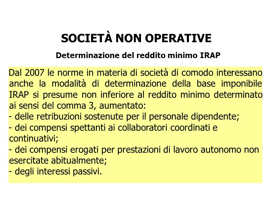 Determinazione del reddito minimo IRAP