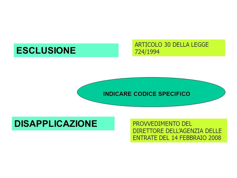ESCLUSIONE DISAPPLICAZIONE ARTICOLO 30 DELLA LEGGE 724/1994