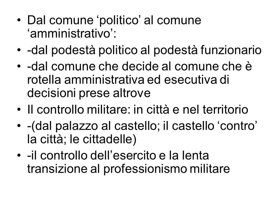 Dal comune 'politico' al comune 'amministrativo':
