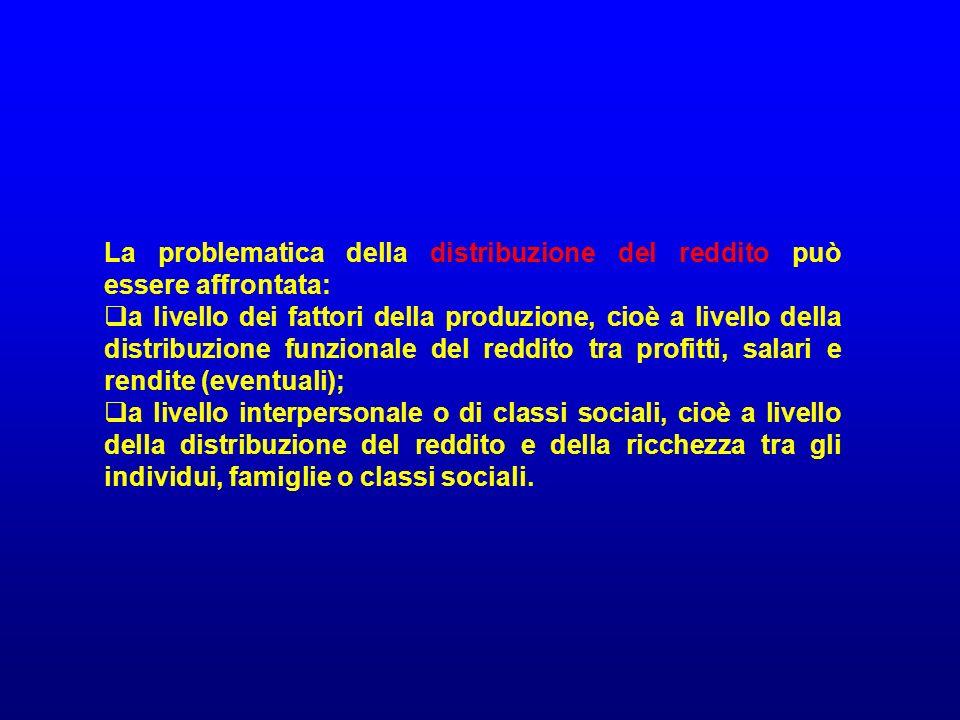 La problematica della distribuzione del reddito può essere affrontata: